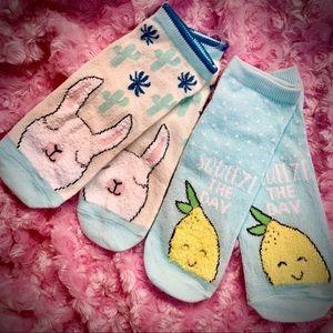 Accessories - Kawaii Alpaca/ Llama Socks & Fuzzy Lemon Socks Lot